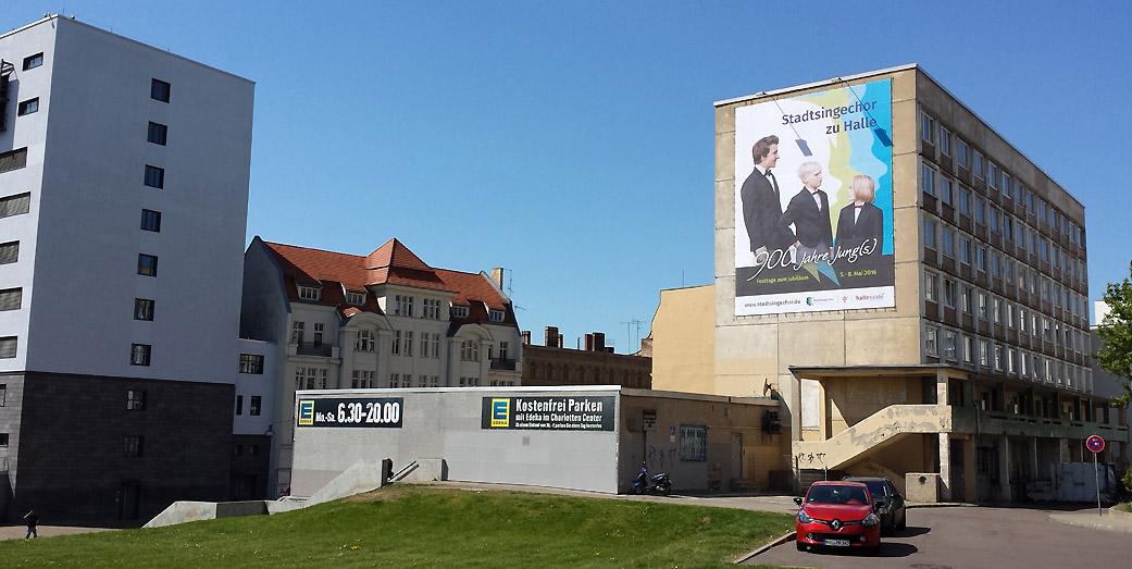 Werbung am Riebeckplatz